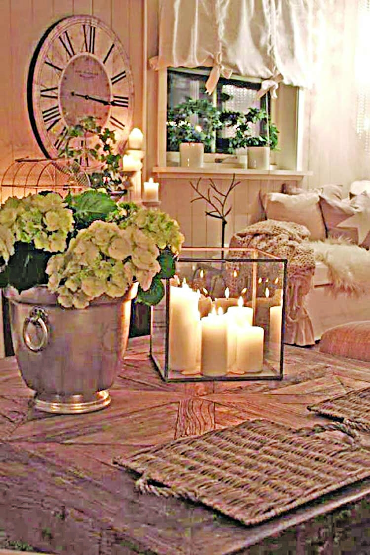 Decorate living room with candles