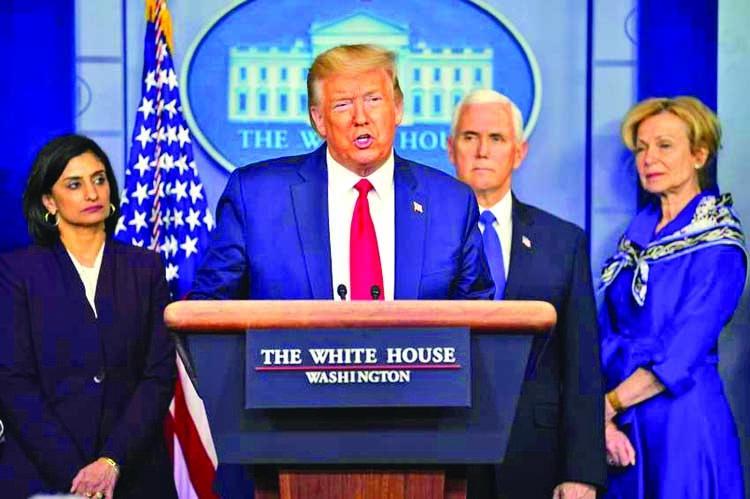 Trump calls himself 'wartime president' as he battles virus