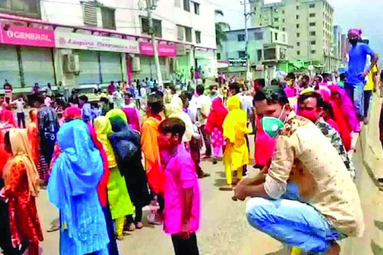 Garment workers protest for back pay