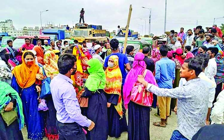 RMG workers demonstrate, demand payment