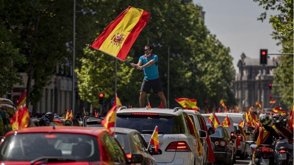 Spanish anti-lockdown car protest draws thousands