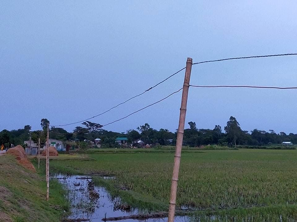 Power connection with bamboo poles puts people at risk