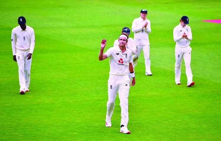 Broad shines again as England bowl out West Indies for 197