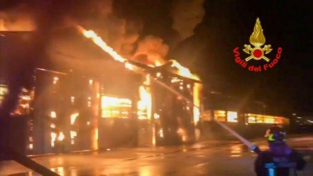 Explosions spark huge fire in Italian port