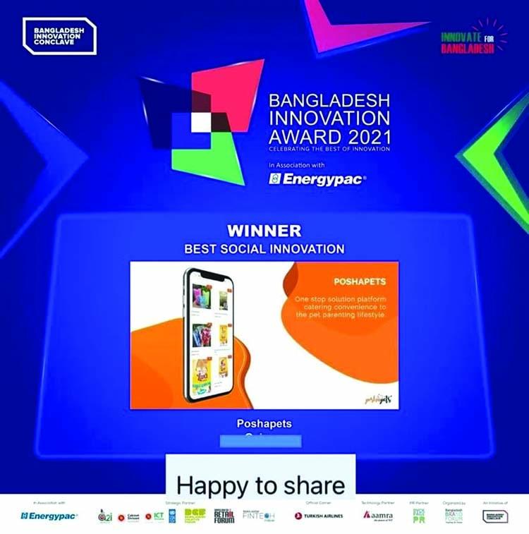 Poshapets wins Bangladesh Innovation Award 2021