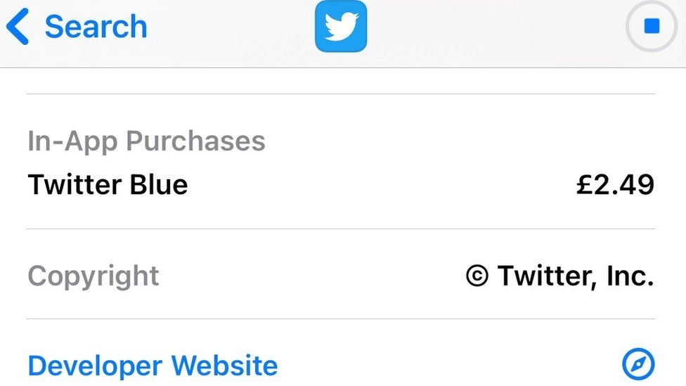 Twitter lists new 'Blue' subscription service