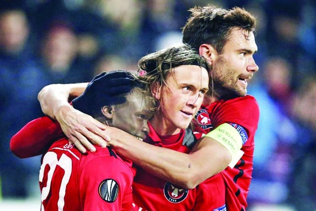 United humbled in 2-1 loss at Midtjylland in Europa League