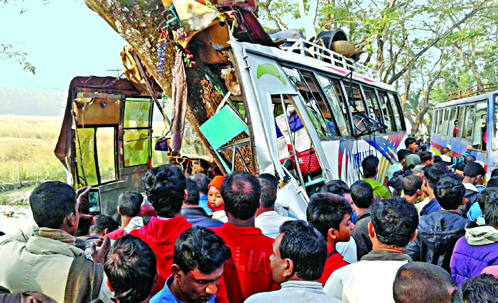 Students injured in Pirojpur bus accident