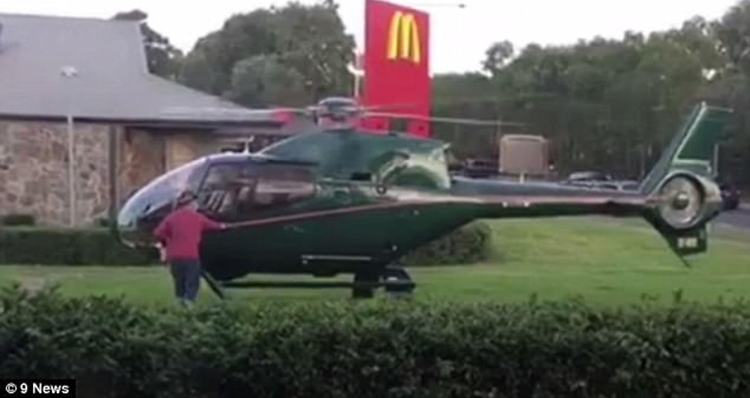 [WATCH]Hungry pilot lands helicopter at Mcdonalds