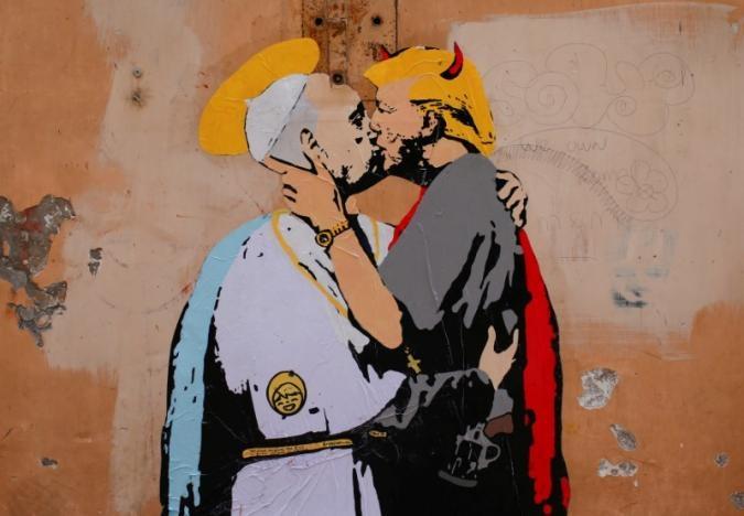 Pope kissing Trump mural appears in Rome