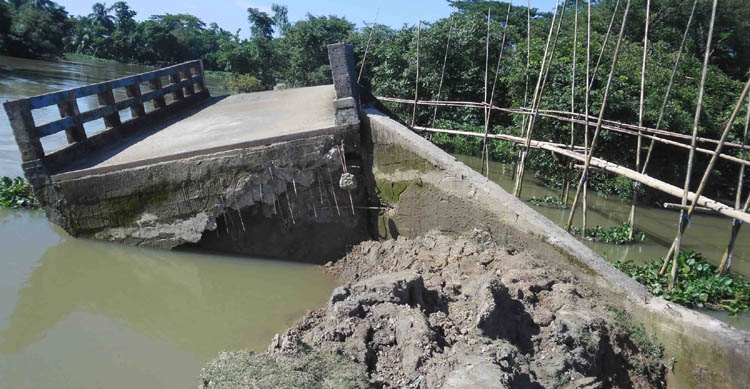 Bridge collapses  in Sunamganj