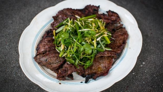 Soy ginger BBQ steak with sesame and coriander salad