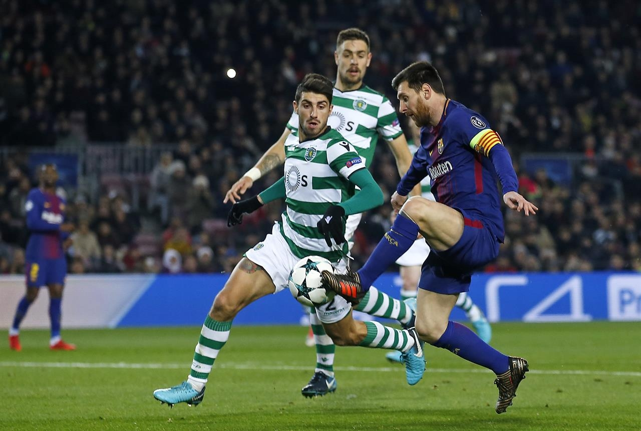 Messi rests for first hour as Barca beats Sporting 2-0 in CL