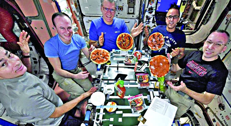 Pizza party in space