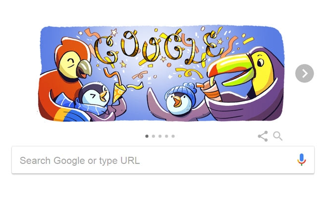 Google doodle celebrates New Year 2017 with penguins, parrots
