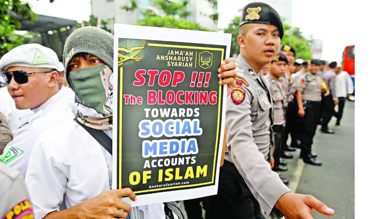Protest by Indonesian Islamists accuses Facebook of bias