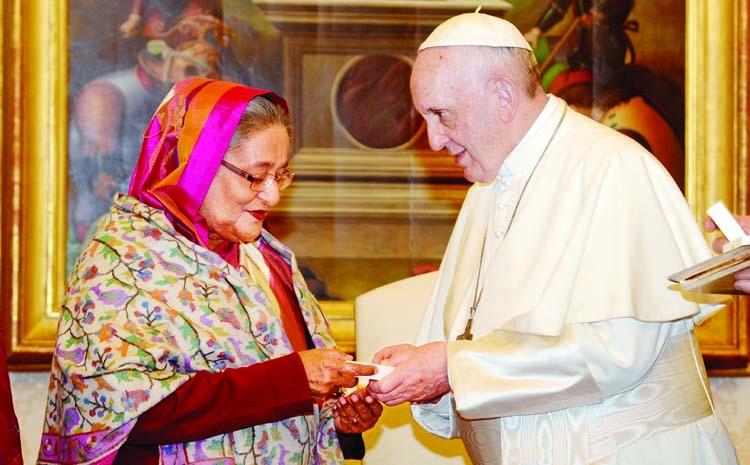 PM Hasina meets Pope Francis