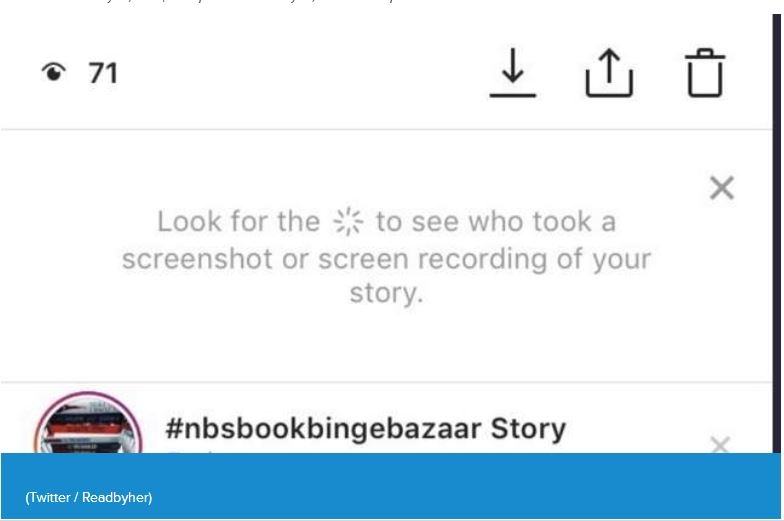 Instagram to alert you when your story is screenshot