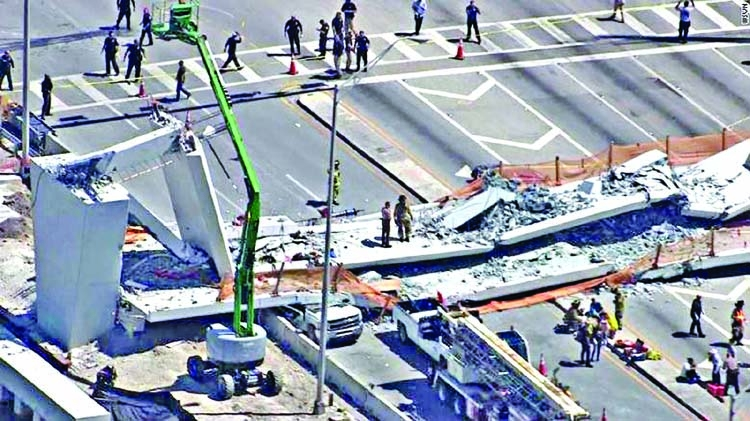 Footbridge collapse  in Florida kills 6