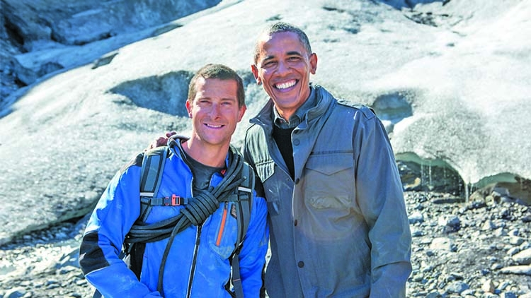 Bear Grylls with Barack Obama