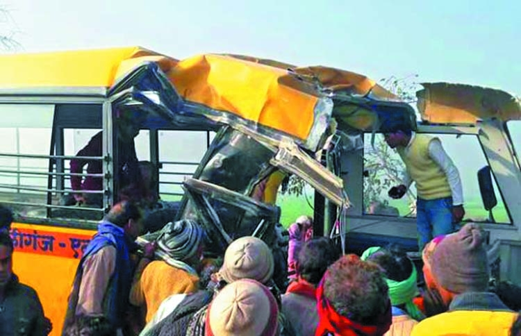 Thirteen children die as train rams school bus in India