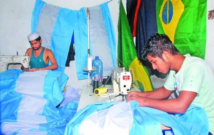 Sleepless nights for flagmakers of WC teams