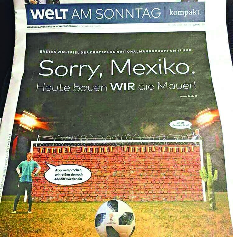 German newspaper jokes before Mexico game