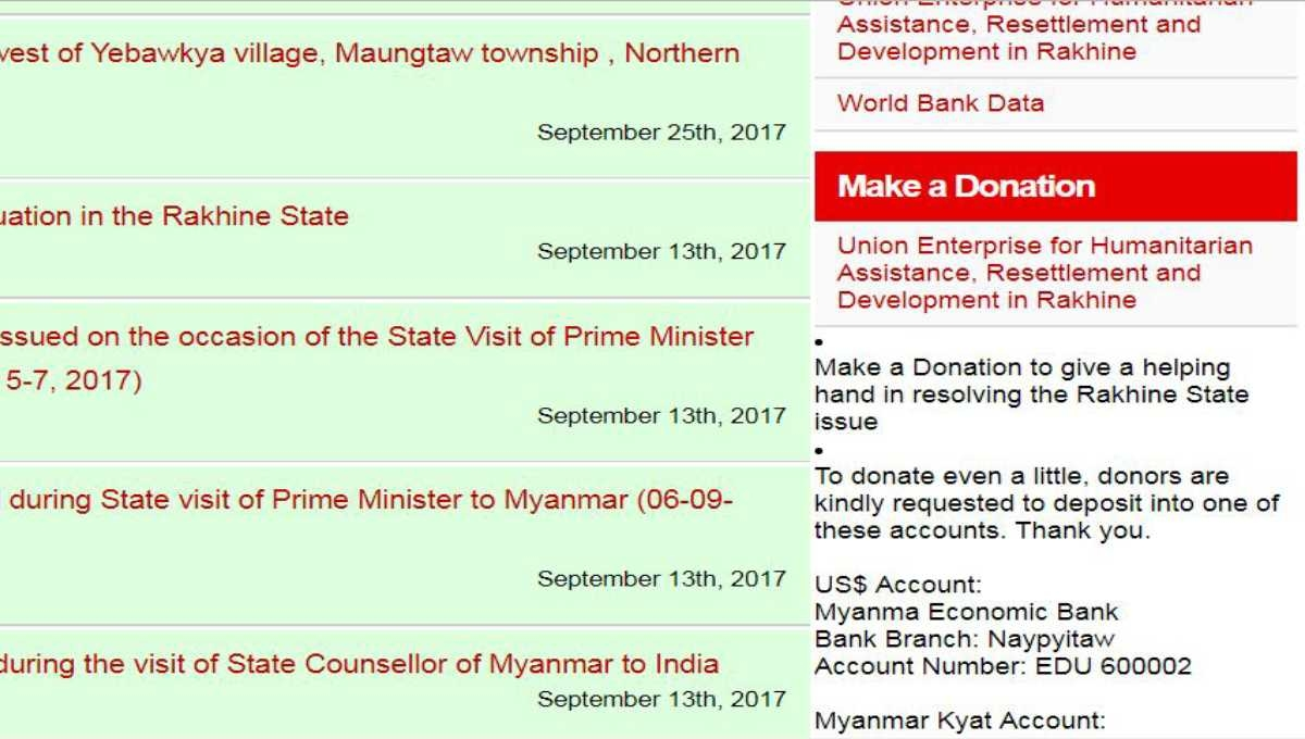 Myanmar now seeking donation to resolve Rohingya crisis