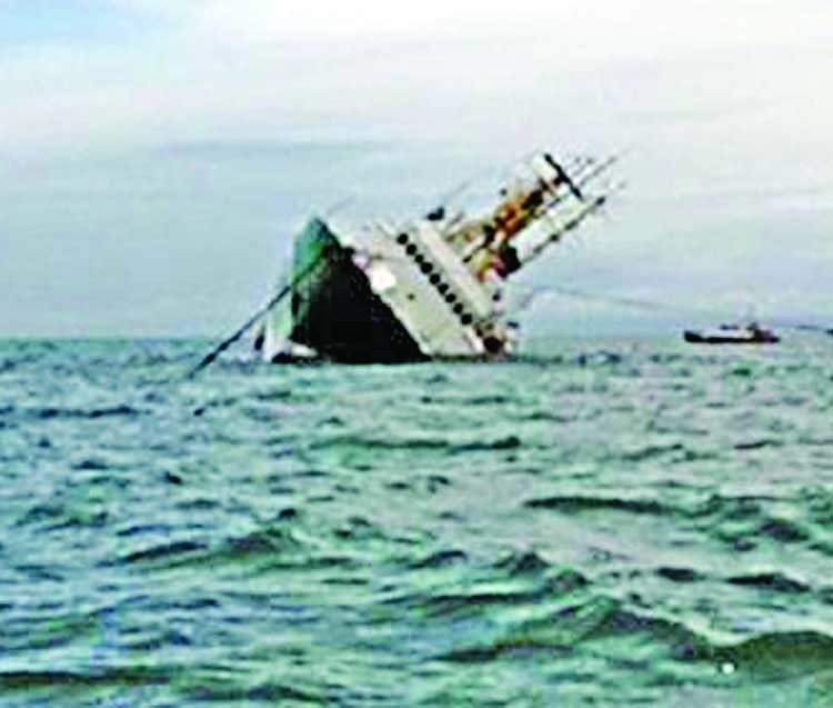 Cement-laden ship capsizes in Bay of Bengal