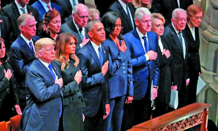 No warmth between Trump and ex-presidents at Bush funeral