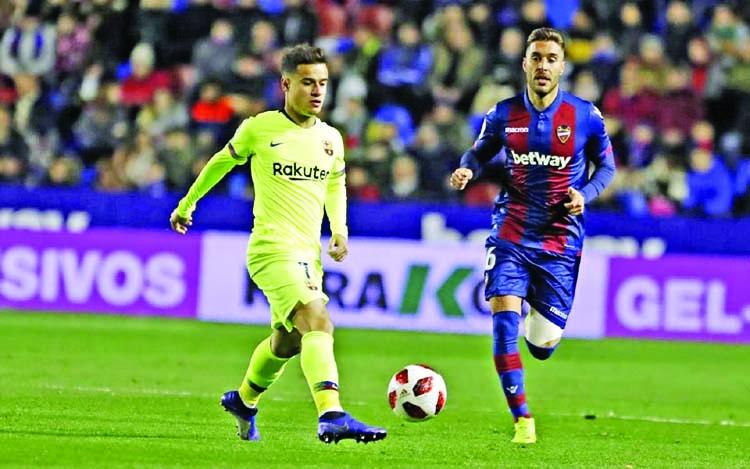 Barcelona lose to Levante in Copa del Rey last 16