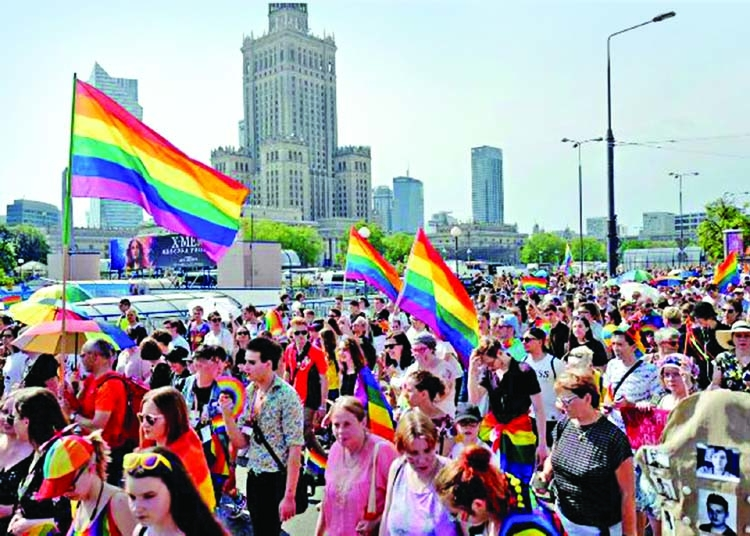 Warsaw pride parade attracts large crowd