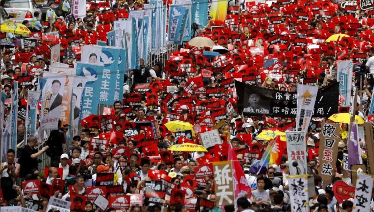 Massive extradition bill protest fills Hong Kong streets