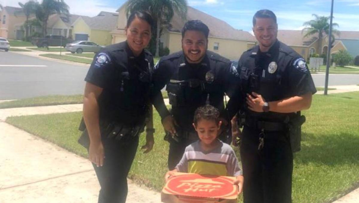 A hungry kid called 911, so cops brought him a pizza