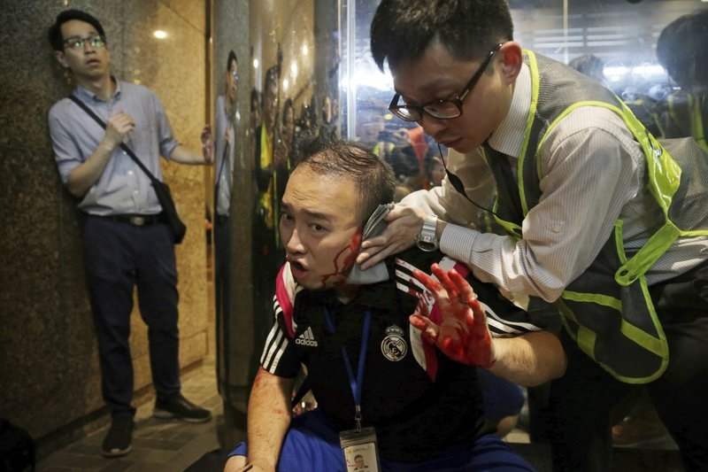Hong Kong police say knife-wielding attacker detained
