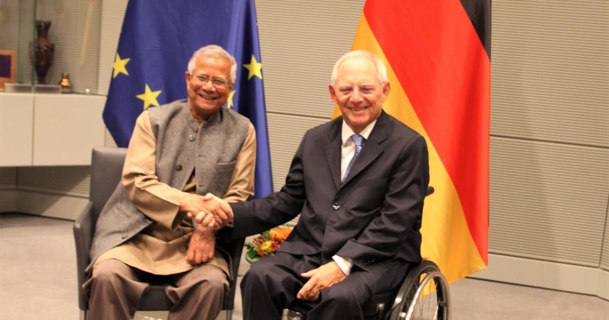 Dr Wolfgang Schäuble meets Prof Yunus in Berlin