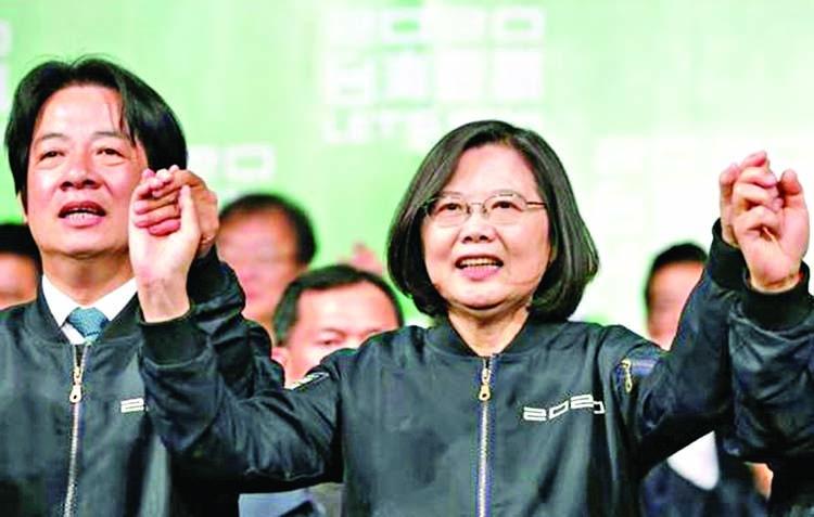 HK protesters fete landslide election win for Tsai