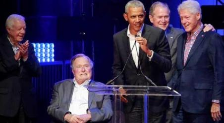 Five ex-US Presidents attend hurricane relief concert