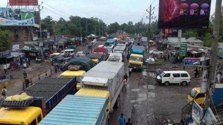 Traffic tailback on Dhaka-Tangail Highway