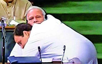 Rahul Gandhi startles Modi with a hug
