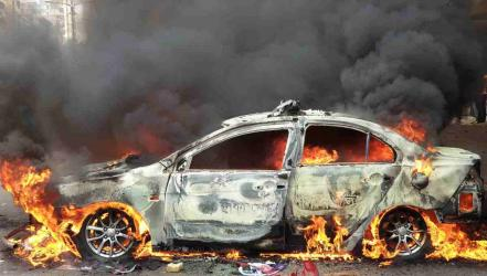 Police van torched during BNP-cop clash at Nayapaltan
