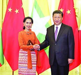 Xi meets Myanmar State Counselor Suu Kyi